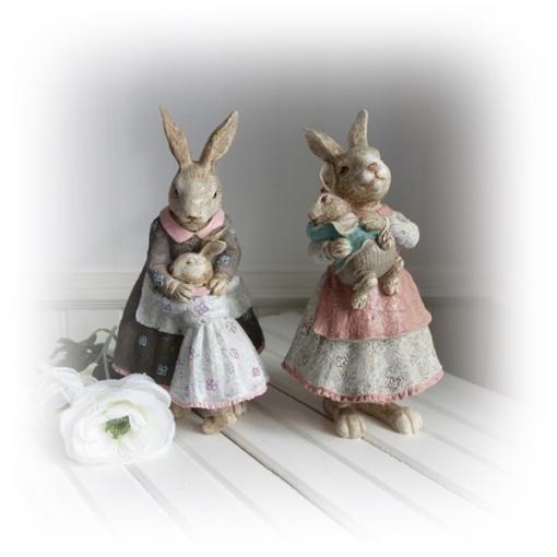 påskpynt med kaninmamma och barn